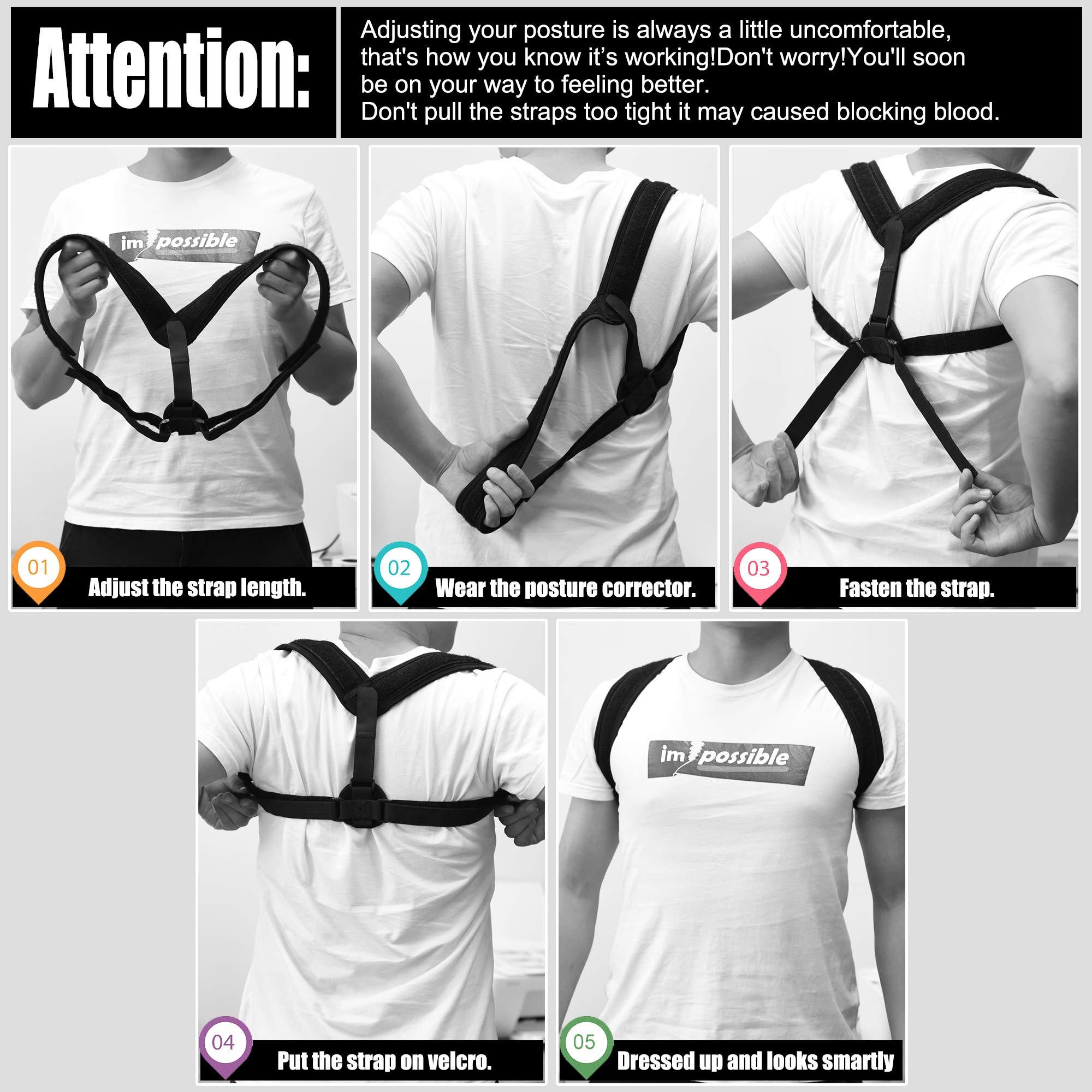 Back Support Posture Corrector for Women and Men,Adjustable Posture Corrector Back Brace Support Belt Lumbar Waist Shoulder Corset Spine Support Posture Correction (Normal)