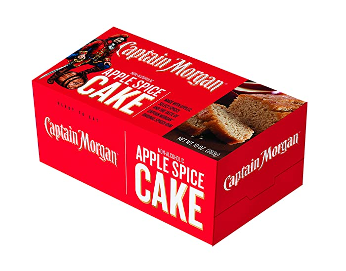 Great Spirits Baking Captain Morgan Apple Spice 10 oz Liquor Cake - Highest Quality Cakes for Delivery - The Best Gift for Birthdays, Holidays, Graduation or Bachelor/Bachelorette Parties