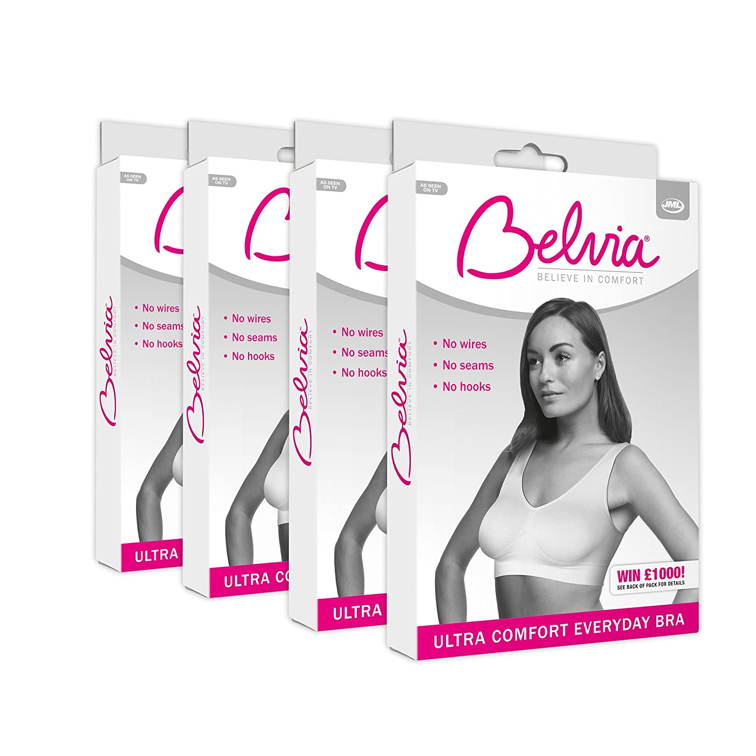 Belvia Comfortable Invisible Wirefree Bra 4 Pack Set White
