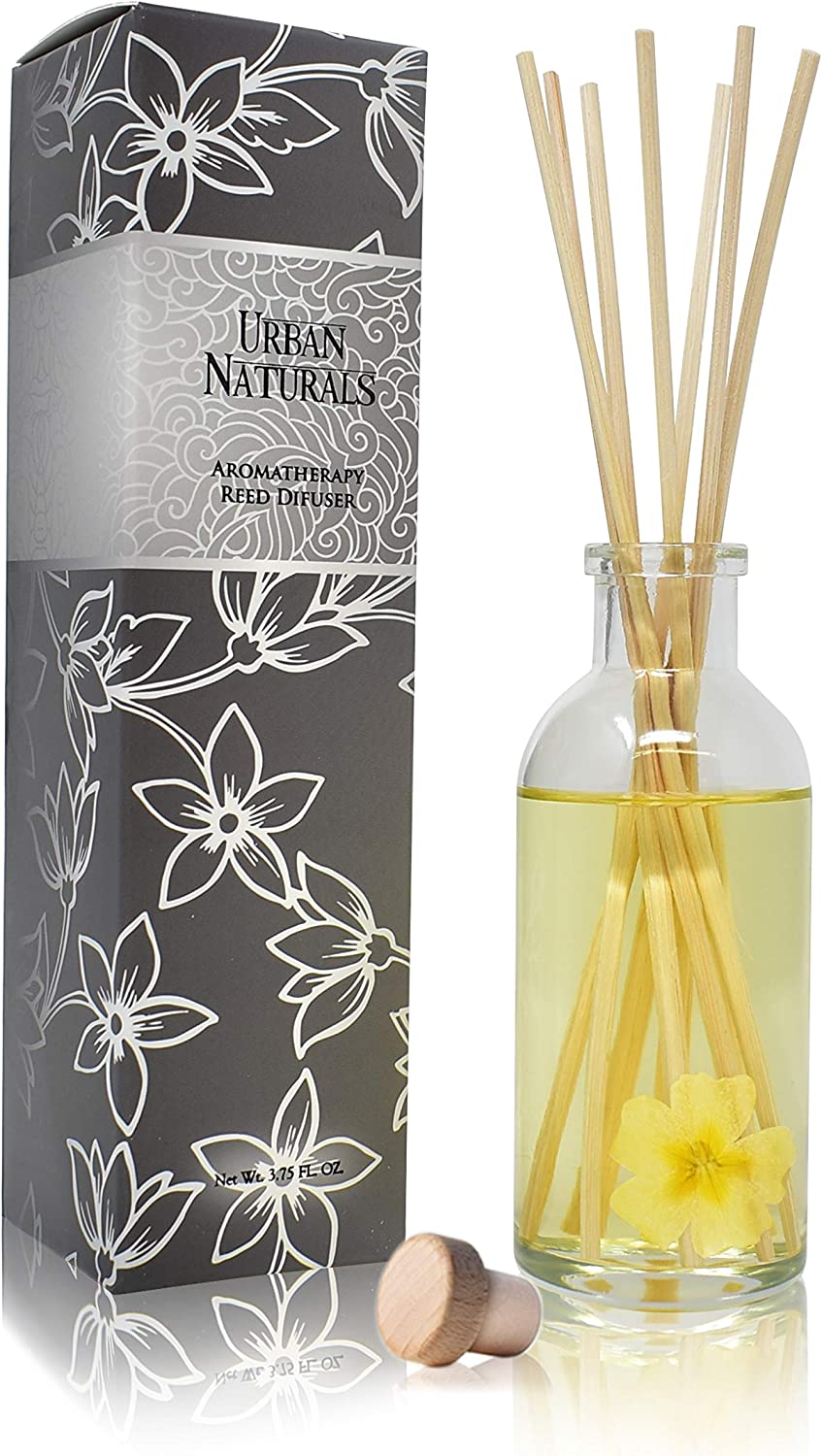 Urban Naturals Timeless Jasmine Gardenia Air Scent Reed Diffuser Set | Beautiful Floral Home Decor with Real Flowers Inside The Bottle! Great Housewarming Gift Idea