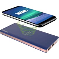 Aduro 8000mAh Wireless Portable Power Bank with 2 USB Charging Ports and Flashlight (Blue)