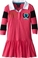 U.S. Polo Assn. Little Girls' 3/4 Striped Sleeves and Solid Twill Dress