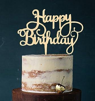 Manschin Laserdesign Cake Topper Happy Birthday Tortenstecker Geburtstag Tortefigur Acryl Farbwahl
