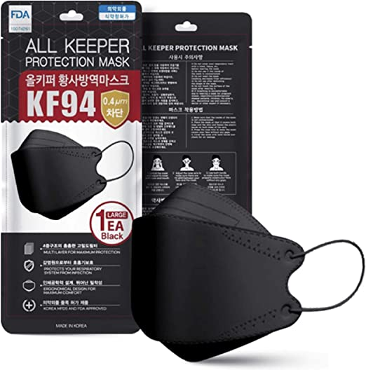 Black All Keeper KF94 Face Safety Masks 4 Layers Filter Protection