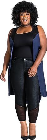 Poetic Justice Plus Size Curvy Womens Blue Pajama Cupro Tie-Belt Duster Vest