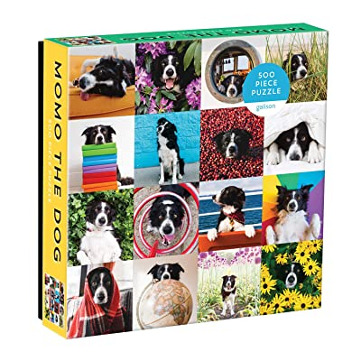 """Galison Momo The Dog Puzzle, 500 Pieces, 20"""" x 20'' – Colorful Puzzle Featuring 16 Adorable Dog Images - Thick, Sturdy Pieces - Perfect for Family Fun: Toys & Games"""