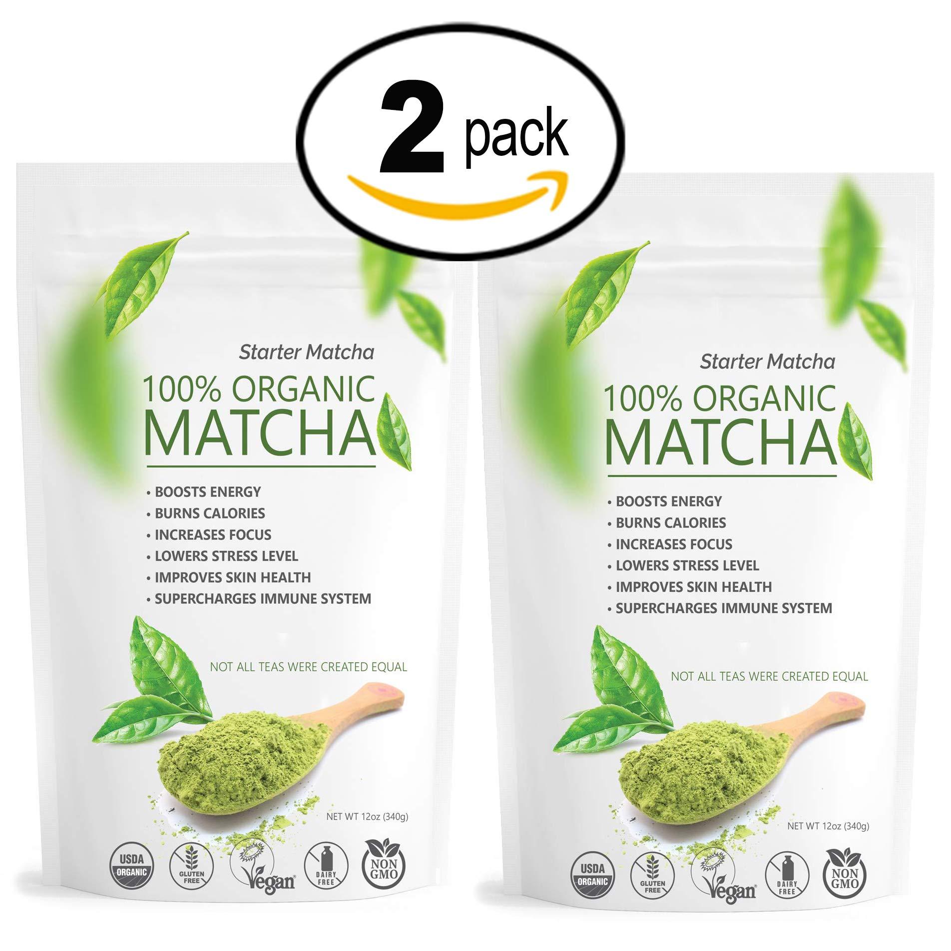 Starter Matcha Set | 2x 12oz | USDA Organic | Non-GMO Certified | Vegan and Gluten-Free | Pure Matcha Green Tea Powder | Grassy Flavor | Mild Natural Bitterness | Autumn-Green color | Matcha Outlet