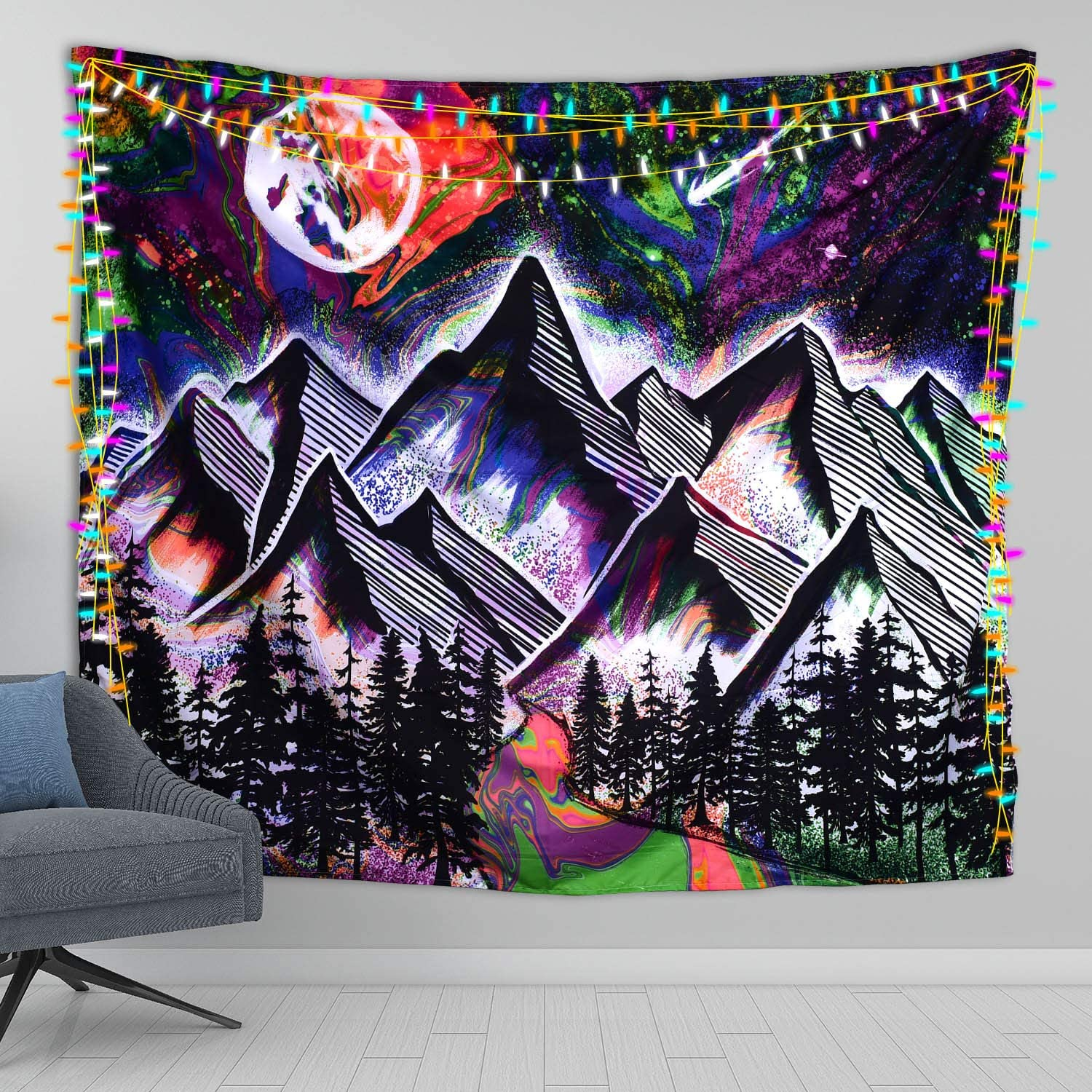 Jamefy Trippy Tapestry Psychedelic Mountain Tapestry Hippie Decor Tie Dye Tapestry Moon Tapestry for Living Room Bedroom Decor Nature Galaxy Tapestry Forest Boho Decor Tapestry Wall Hanging (60x50 Inches)