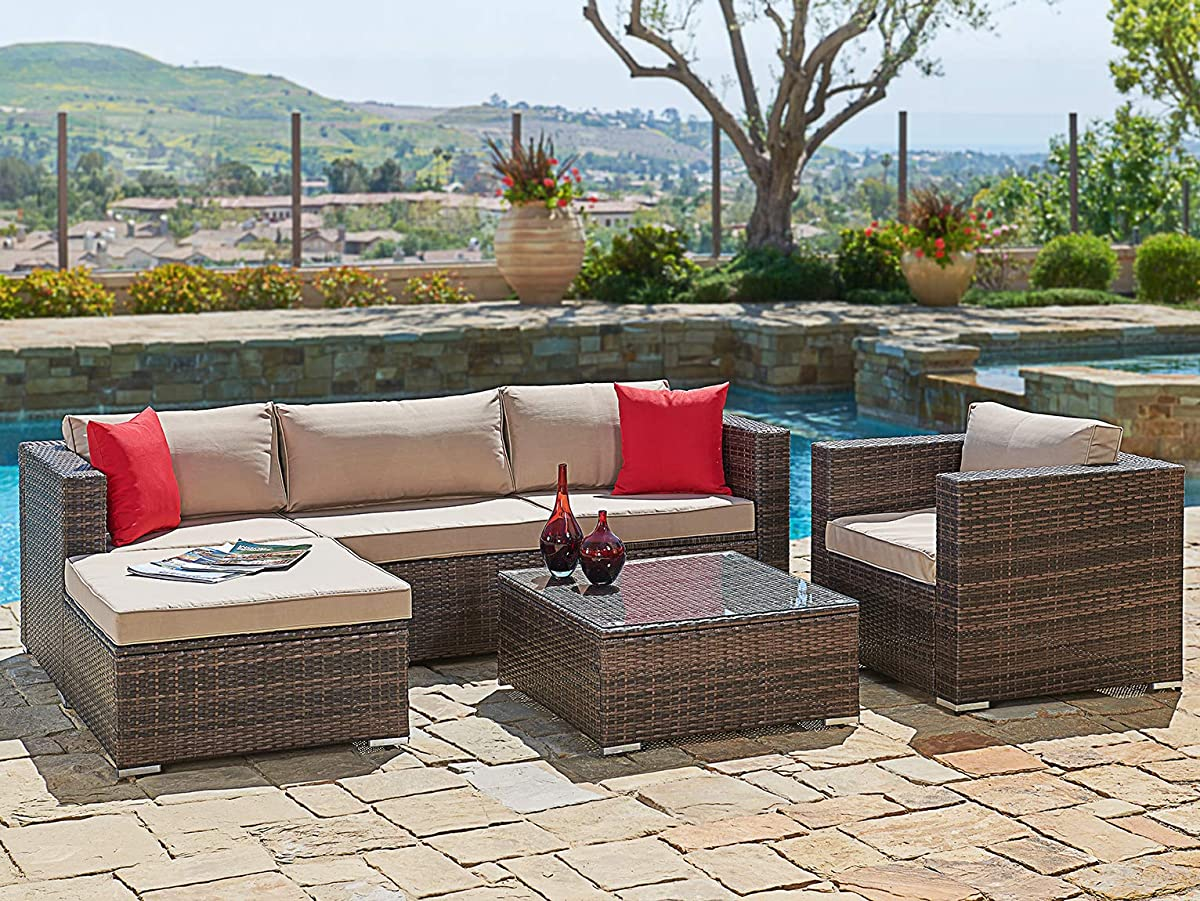 SUNCROWN Outdoor Patio Furniture Set (6-Piece Set) Brown Checkered Wicker Patio Sectional Sofa & Chair w/Brown Seat Cushions & Modern Glass Coffee Table | Patio, Backyard, Pool & Waterproof Cover