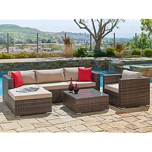 Outdoor Patio Furniture 7pc Multibrown All Weather Wicker: Deck Furniture: Amazon.com