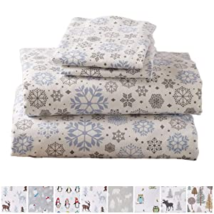 Home Fashion Designs Flannel Sheets Queen Winter Bed Sheets Flannel Sheet Set Snowflakes Flannel Sheets 100% Turkish Cotton Flannel Sheet Set. Stratton Collection (Queen, Snowflakes)