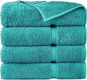 Indulge Linen 100% Cotton Turkish Towel Set (Aqua, Bath Towels - Set of 4)
