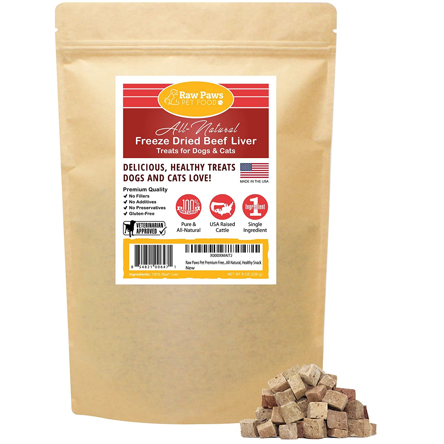 Raw Paws Freeze Dried Beef Liver Treats for Dogs Cats – Made in USA, Real, Healthy, Grain-Free, Crunchy Dry Dog Liver Treats – Freeze Dried Dog Treats for Small to Large Dogs, Training Treats
