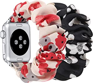 fastgo Compatible with Scrunchie Apple Watch Band Series 5/4 38mm/40mm,Women Girl Gift Elastic Bracelet Sport Strap Stretchy Soft Fabric Replacement Wristband for Iwatch 3/2/1(Sakura & Flower,38/40mm)
