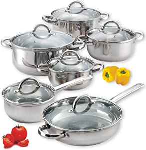Cook N Home 12-Piece Stainless Steel Cookware Set, Silver