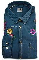 Seidensticker Herren Langarm Hemd Schwarze Rose Slim Fit Washed blau (jeans) mit Blumenstick 471569.18