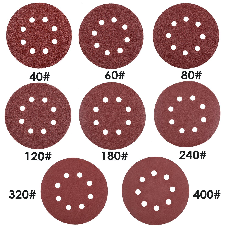 FIXKIT 80PCS Sanding Discs Pads Hook and Loop 40 60 80 120 180 240 320 400 Sandpaper Assorted for Random Orbital Sander 5 Inch