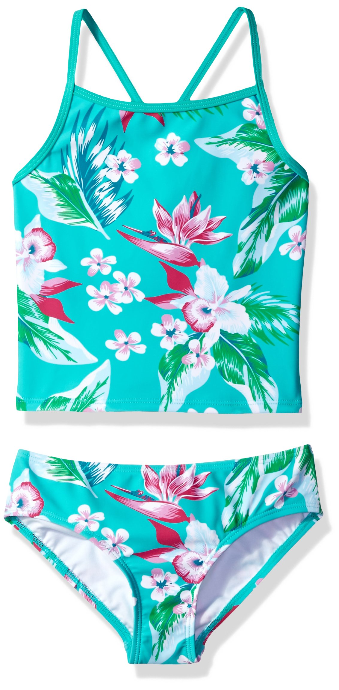 Kanu Surf Big Girls' Melanie Beach Sport 2-Piece Banded Tankini Swimsuit, Alania Floral Green, 12