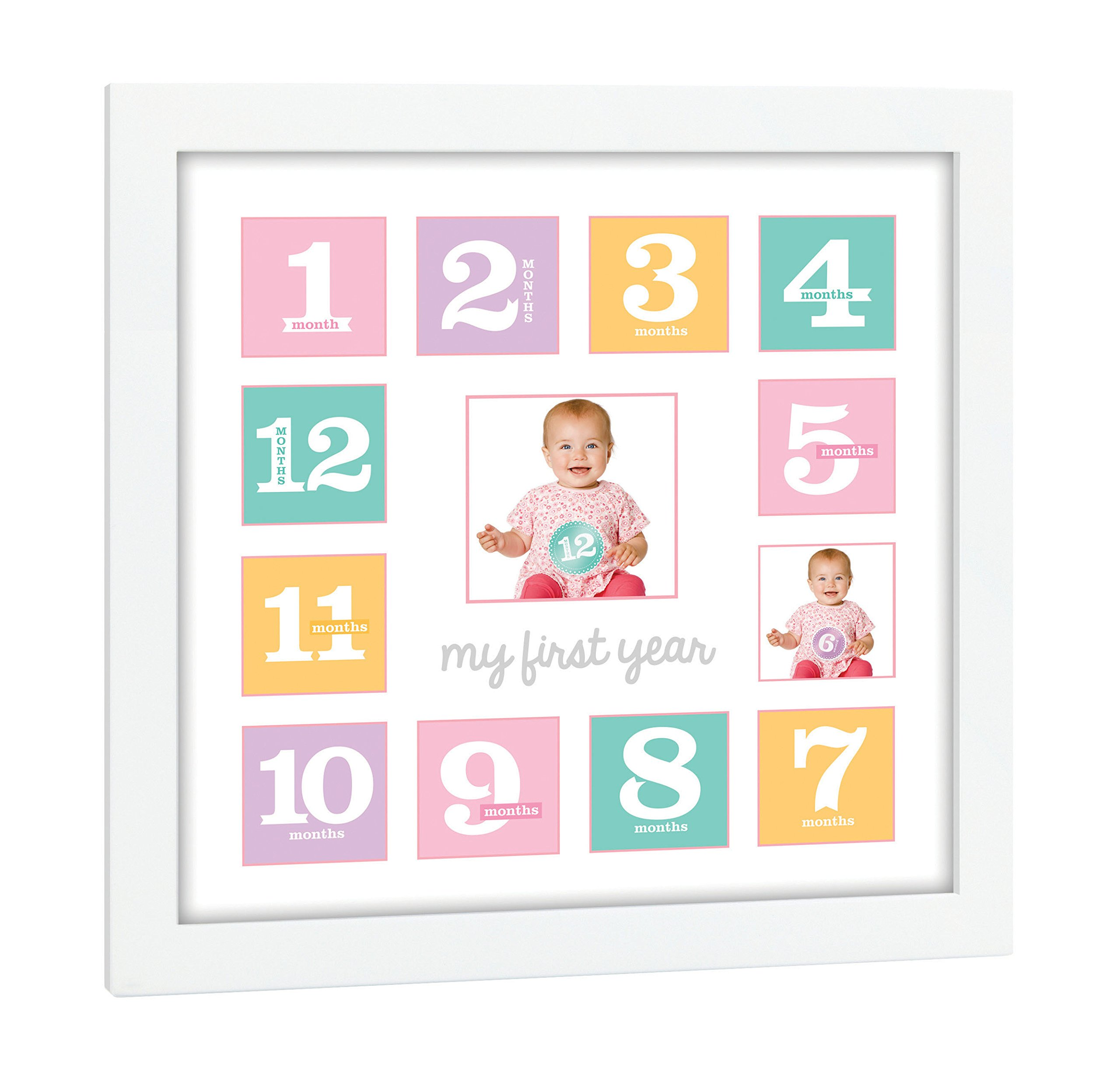 Tiny Ideas Baby's First Year Keepsake Picture Photo Frame, First Year by Month, Newborn Baby Registry Must Haves, Baby Shower Gift by Tiny Ideas