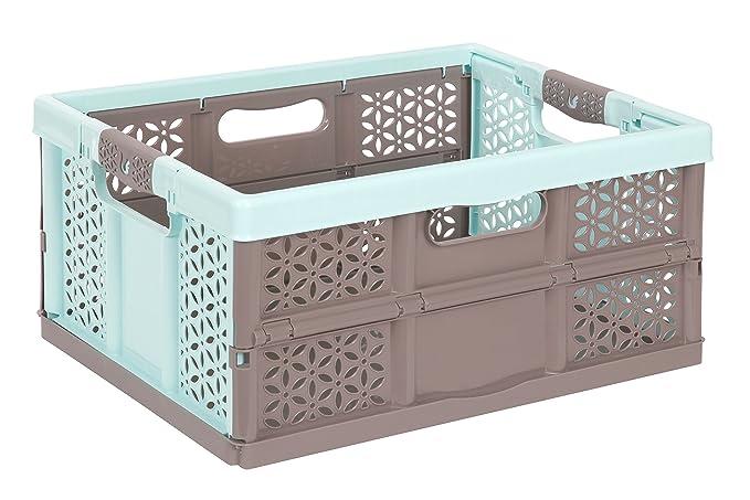 3x Caja plegable 32L AQUAMARIN/marrón Caja Plegable Plástico Caja Caja de transporte Cesta de compra: Amazon.es: Hogar