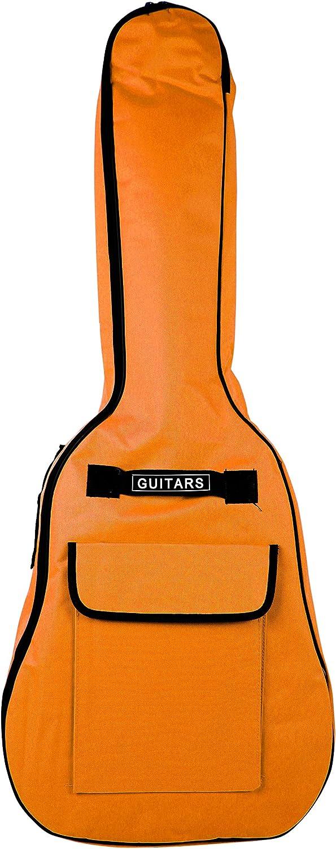 Cubierta de la guitarra de tamaño completo Bray tigre naranja funda acolchada GIGBAG para cualquier acústica, eléctrica, bajo y guitarra clásica con asa de transporte y las correas de hombro (41