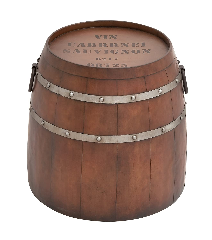 Amazon.com: Deco 79 Metal Barrel Table, 20 By 19 Inch, Brown: Home U0026 Kitchen