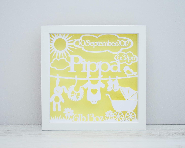 Framed Baby Name Papercut - Personalised Nursery Wall Art ...