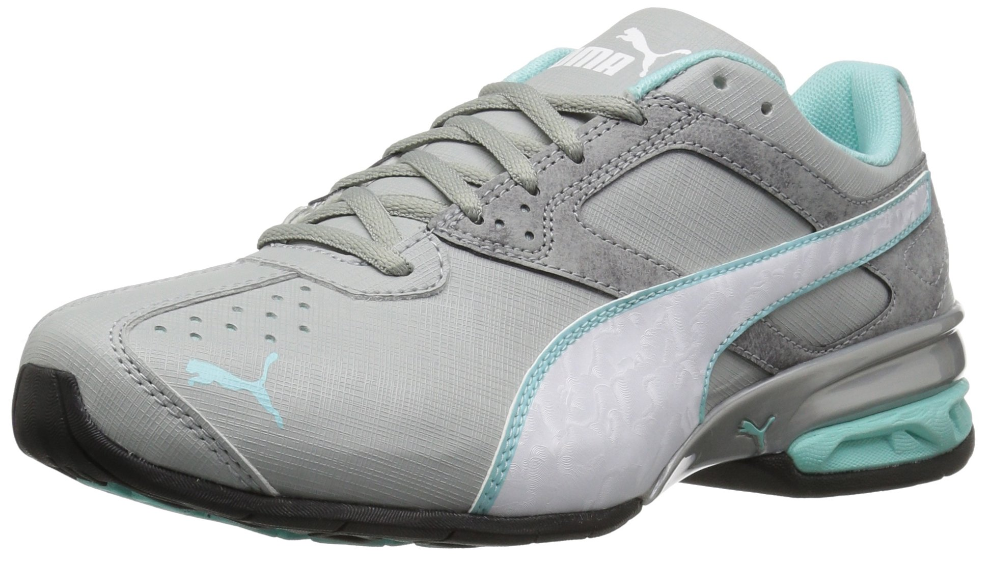 PUMA Women's Tazon 6 Accent WN's Cross-Trainer Shoe, Quarry White-Aruba Blue, 8 M US