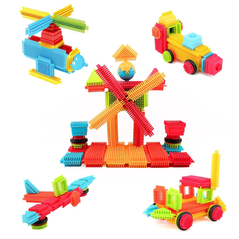 90 Pcs Colorful Zooawa Hedgehog Sensory Soft Stacking Toy Educational Construction Interlocking Bricks for Toddlers /& Kids Building Blocks Set