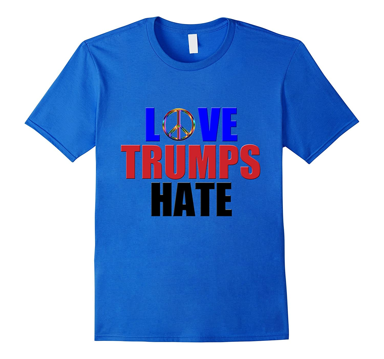 Love Trumps Hate with Peace Sign Shirt for Bernie Sanders-RT