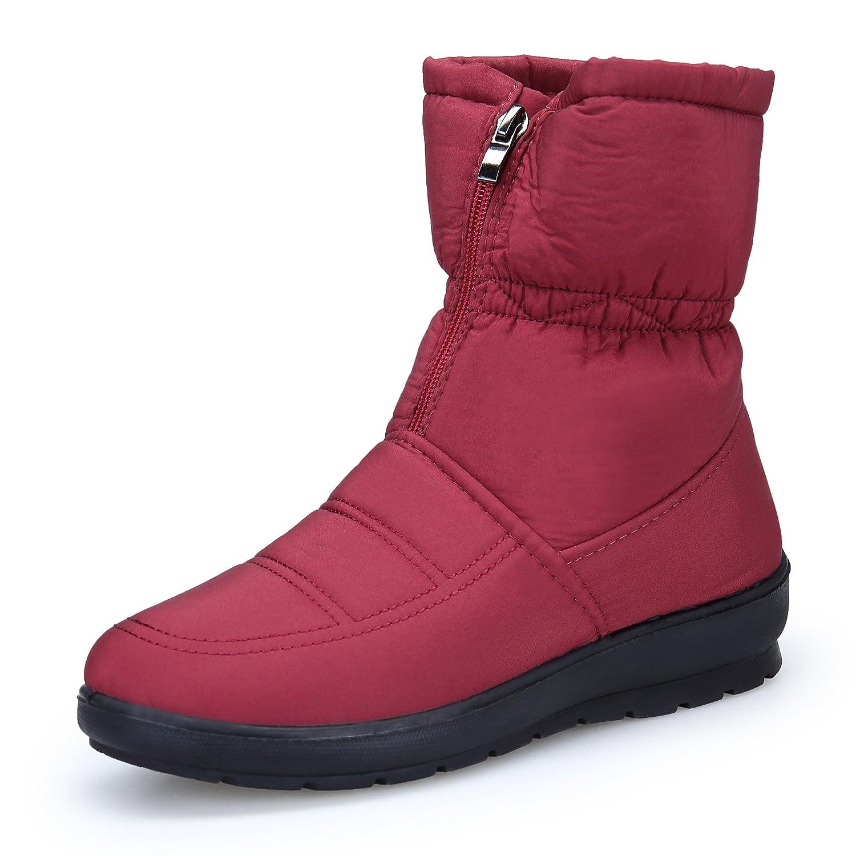 KOUDYEN Neige Femme Bottes de Plates Neige 13197 Boots Hiver Chaussures Plates Bottines Fermeture Éclair Rouge f940032 - epictionpvp.space