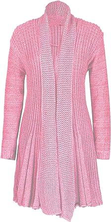 Women Ladies Boyfriend Knitted Open Plain Crochet Waterfall Cardigan Plus Size