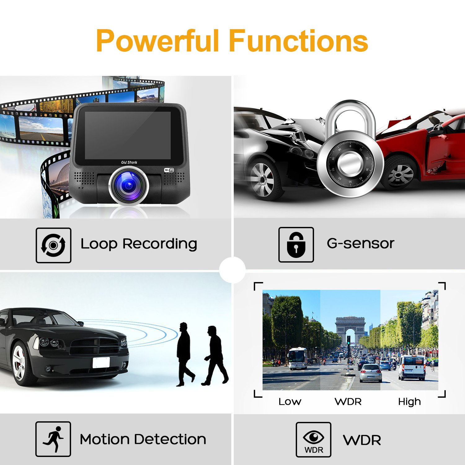 """Free 16GB SD Card ,1080P Full HD in Car DVR 220 Degree Wide Angle 3/"""" LCD Dashboard Camera,Sony Sensor Car Driving Video Recorder with G-Sensor Night Vision,WDR Old Shark XURPS-854XUJ-513S OldShark G15 Dash Cam with WiFi"""