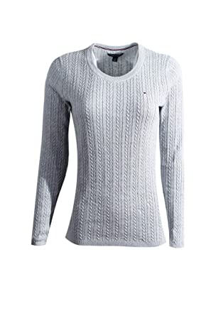 ef6a3dc0 Tommy Hilfiger Womens Scoop Neck Cable Knit Sweater (X-Small, Light Grey V2