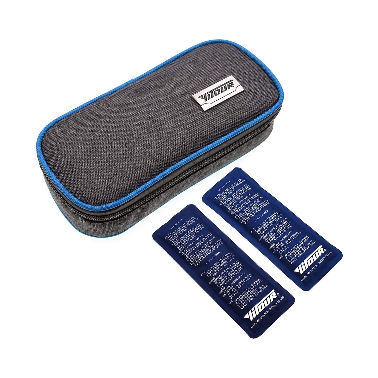 Meigirlxy Insulin Cooler Travel Case with 2 Ice Packs, Portable Medicine Carrying Bag Diabetic Organizer Fit for Vials, Syringes (Blue)