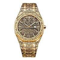 ERHETUS Men's Watches, Vintage Carved Watch Luxury Business Islamic Watch for Men