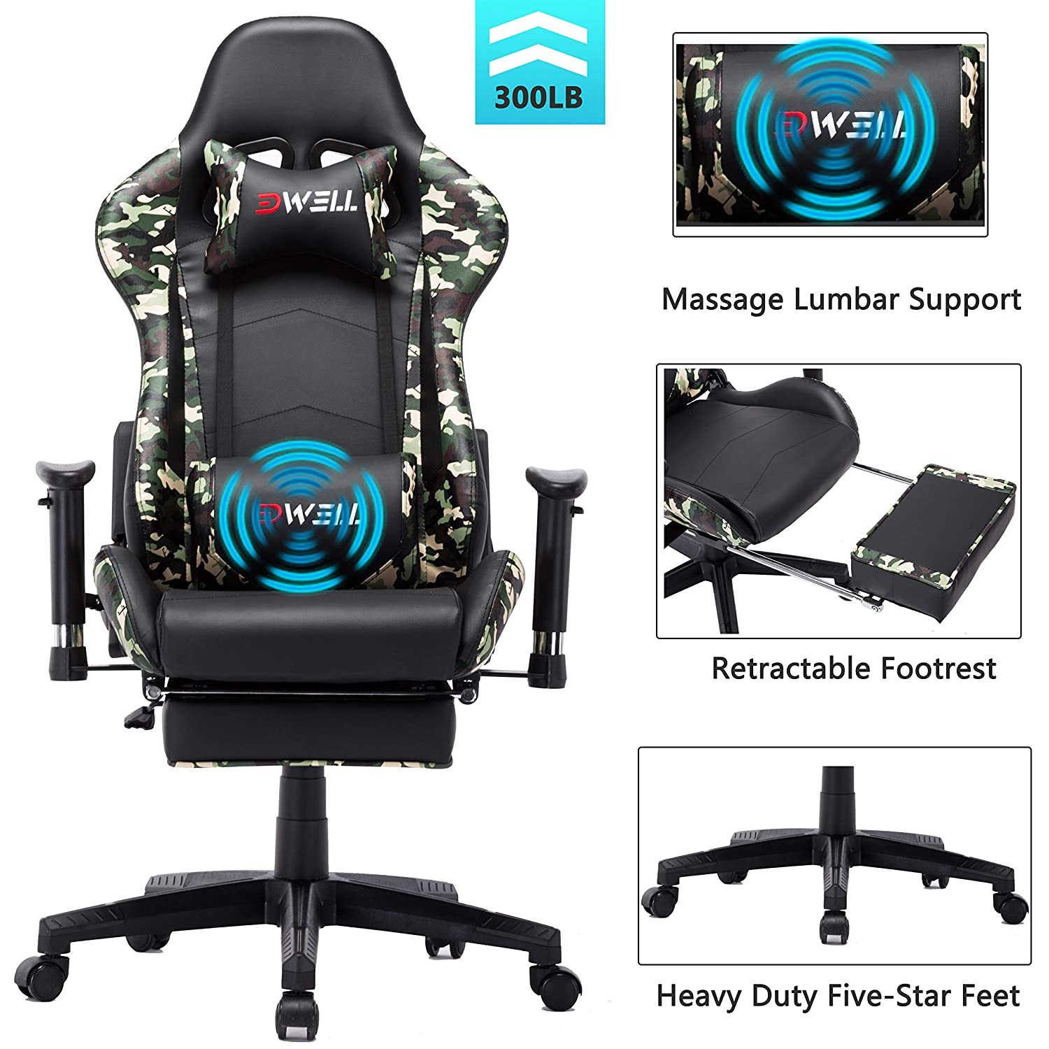EDWELL Ergonomic Gaming Chair with Headrest and Lumbar Massage Support Racing Style PC Computer Chair Height Adjustable Swivel with Retractable Footrest Executive Office Chair Camo