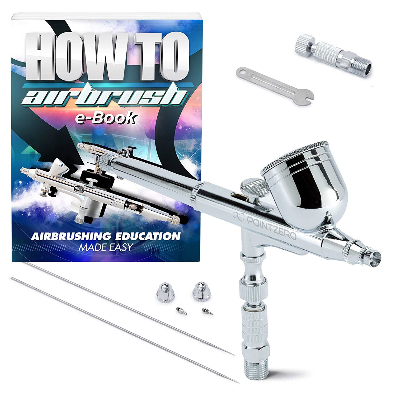 PointZero Dual-Action 7cc Gravity-Feed Airbrush 3 Tip Set (.2mm .3mm .5mm) PointZero Airbrush 4336951490