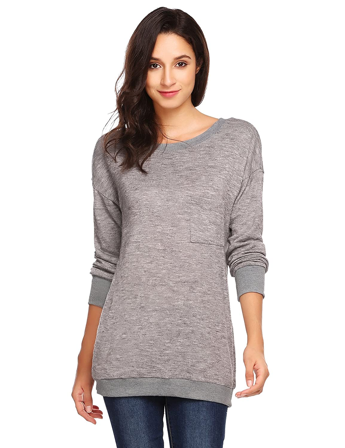 ELESOL Women's Casual Crew Neck Long Sleeve Loose Pullover Sweater with Pockets ELV005625