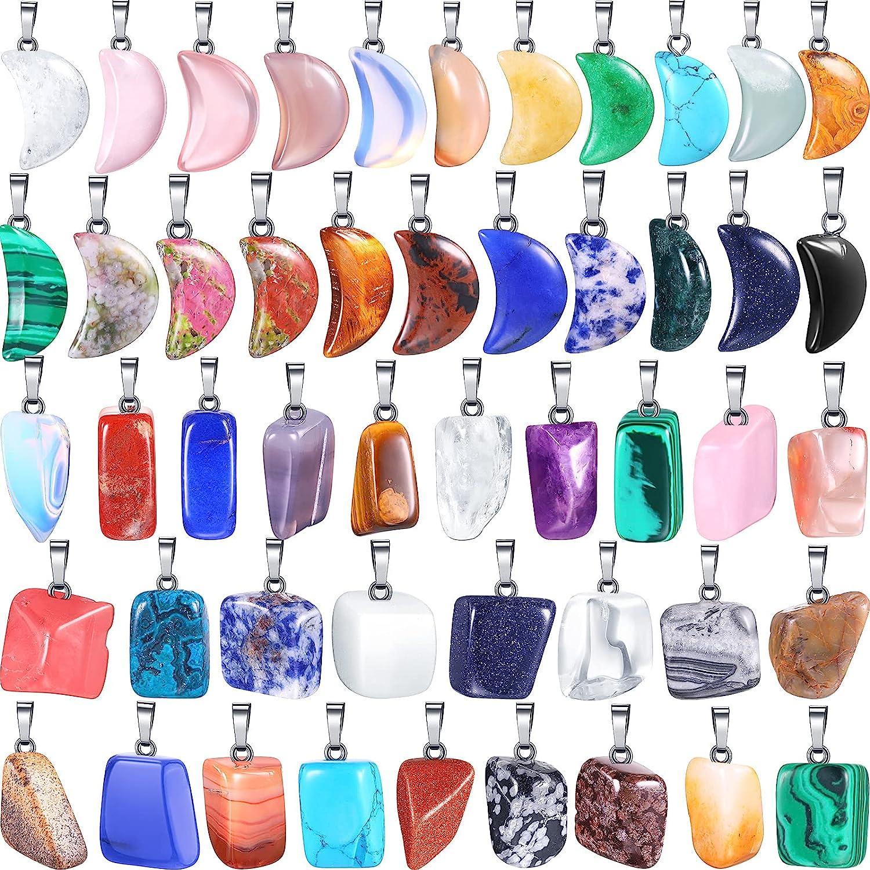 50 Pieces Stone Pendants Gemstone Charms Irregular Healing Stone Beads Moon Shape Stone Pendants Natural Gemstone Beads Quartz Charms for DIY Bracelets Necklaces Earrings Jewelry Making