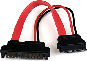 StarTech.com 6in Slimline SATA to SATA Adapter with Power - Slim SATA (F) to SATA (M) - Slimline Serial ATA to SATA (SLSATAADAP6),Red