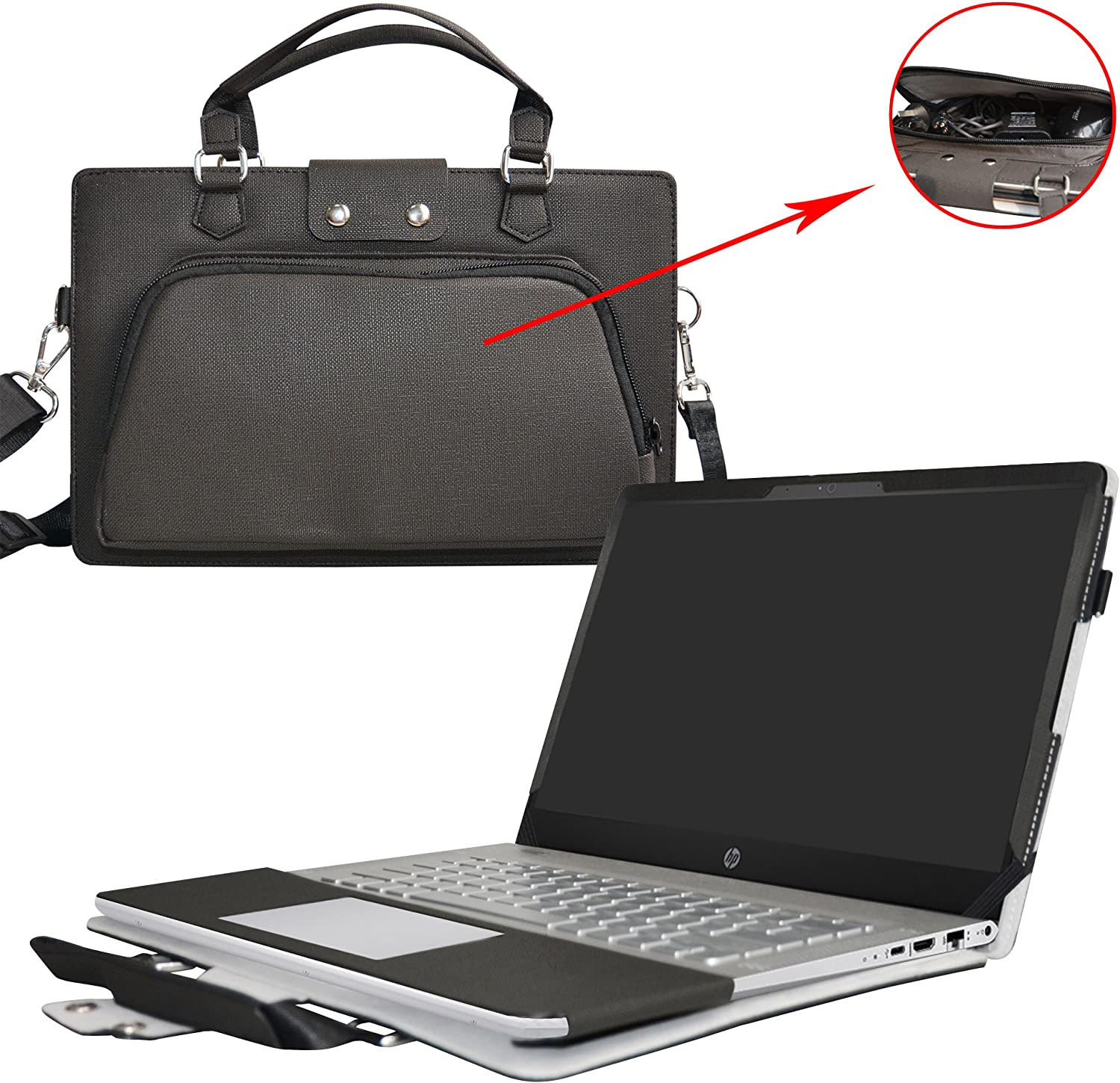"""Pavilion 15 Case,2 in 1 Accurately Designed Protective PU Leather Cover +Portable Carrying Bag for 15.6"""" HP Pavilion 15 15-au000 Series Laptop(Not fit 15-cc000/15-p000/15-b000/15-ab000/15-n000),Black"""