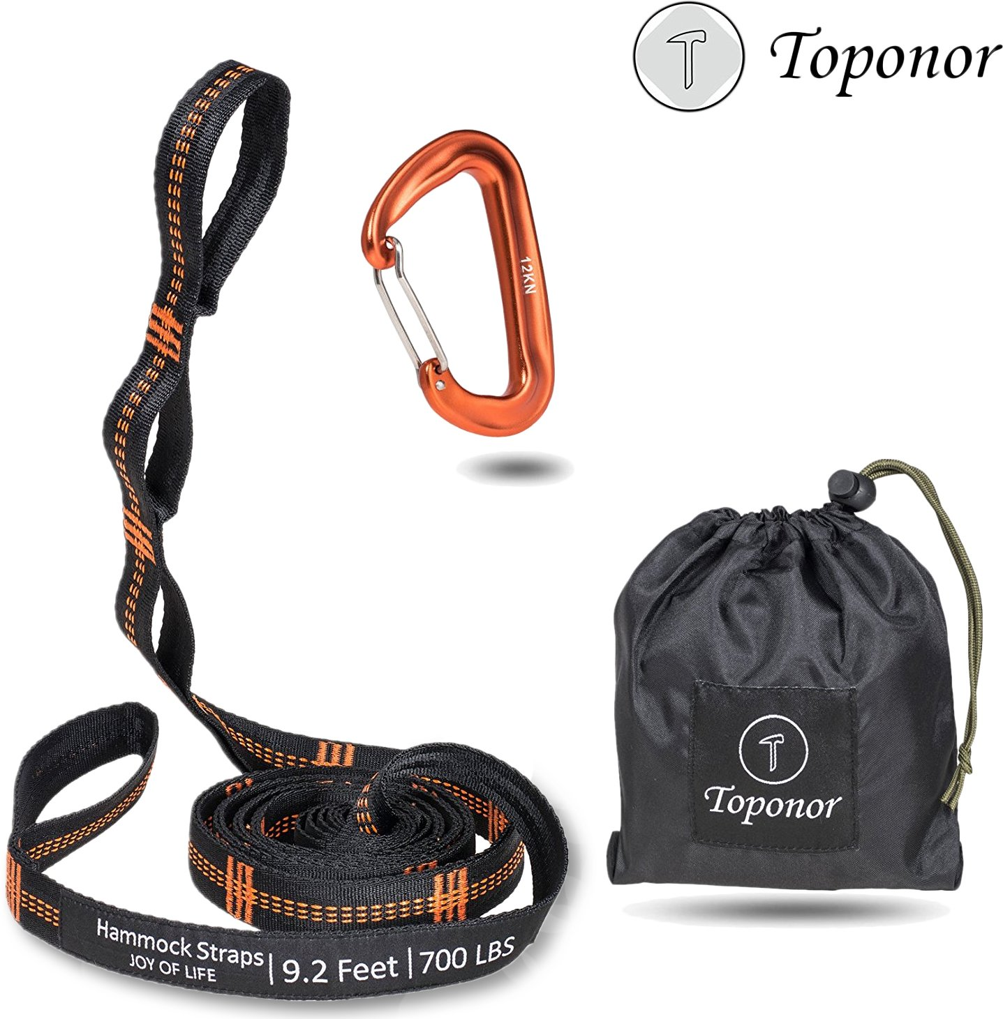 Hammock Tree Straps Set 9.2 Feet Long 16 Adjustable Loops 700 LBS Breaking Strength Tree webbing Heavy Duty 100% No Stretch Suspension Hanging Kit for Camping Hiking Backyard(12KN Carabiners Included)