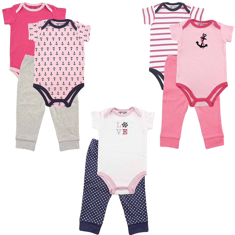 Luvable Friends 5 Bodysuits /& 3 Pants Outfit Set Blue /& Gray 0-3 Months