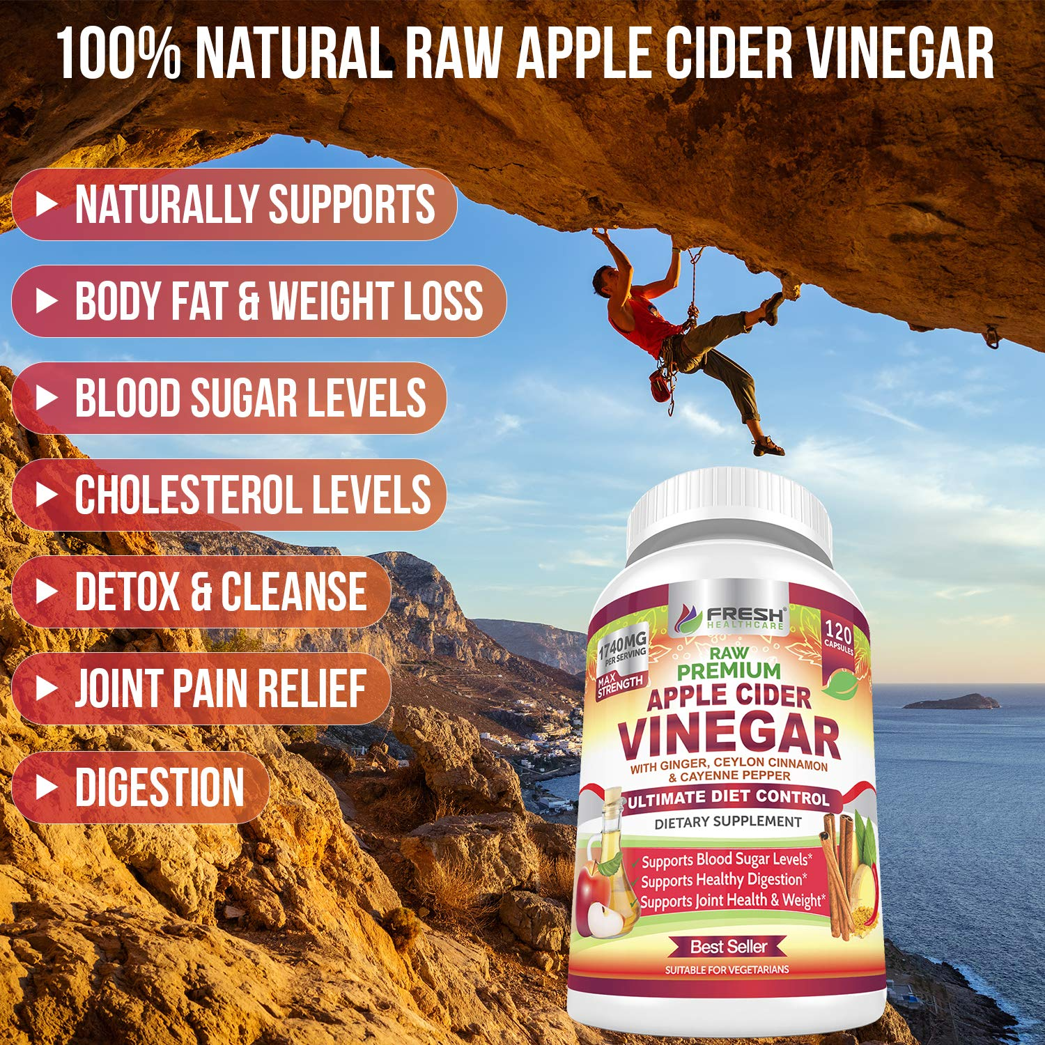 Organic Apple Cider Vinegar Pills Max 1740mg with Mother - 100% Natural & Raw with Ceylon Cinnamon, Ginger & Cayenne Pepper - Ideal for Healthy Blood Sugar, Detox & Digestion-120 Vegan Capsules by FRESH HEALTHCARE (Image #3)