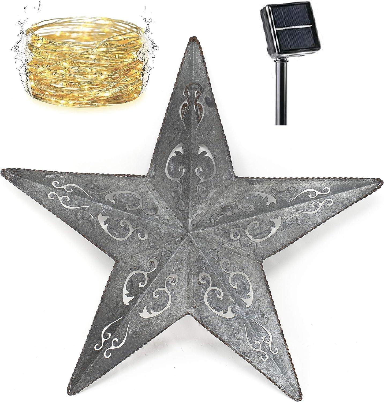 SOLAR LIGHTED METAL LACY BARN STAR 24
