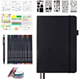 Bullet Dotted Journal Kit, Feela A5 Dotted Bullet Grid Journal Set with 224 Pages Black Notebook, Fineliner Colored Pens, Ste