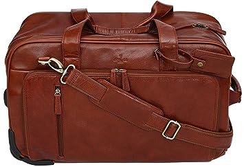 S Babila - Sac de voyage à roulettes style fourre-tout - cuir pleine fleur - taille cabine - Cognac xPg6R2m