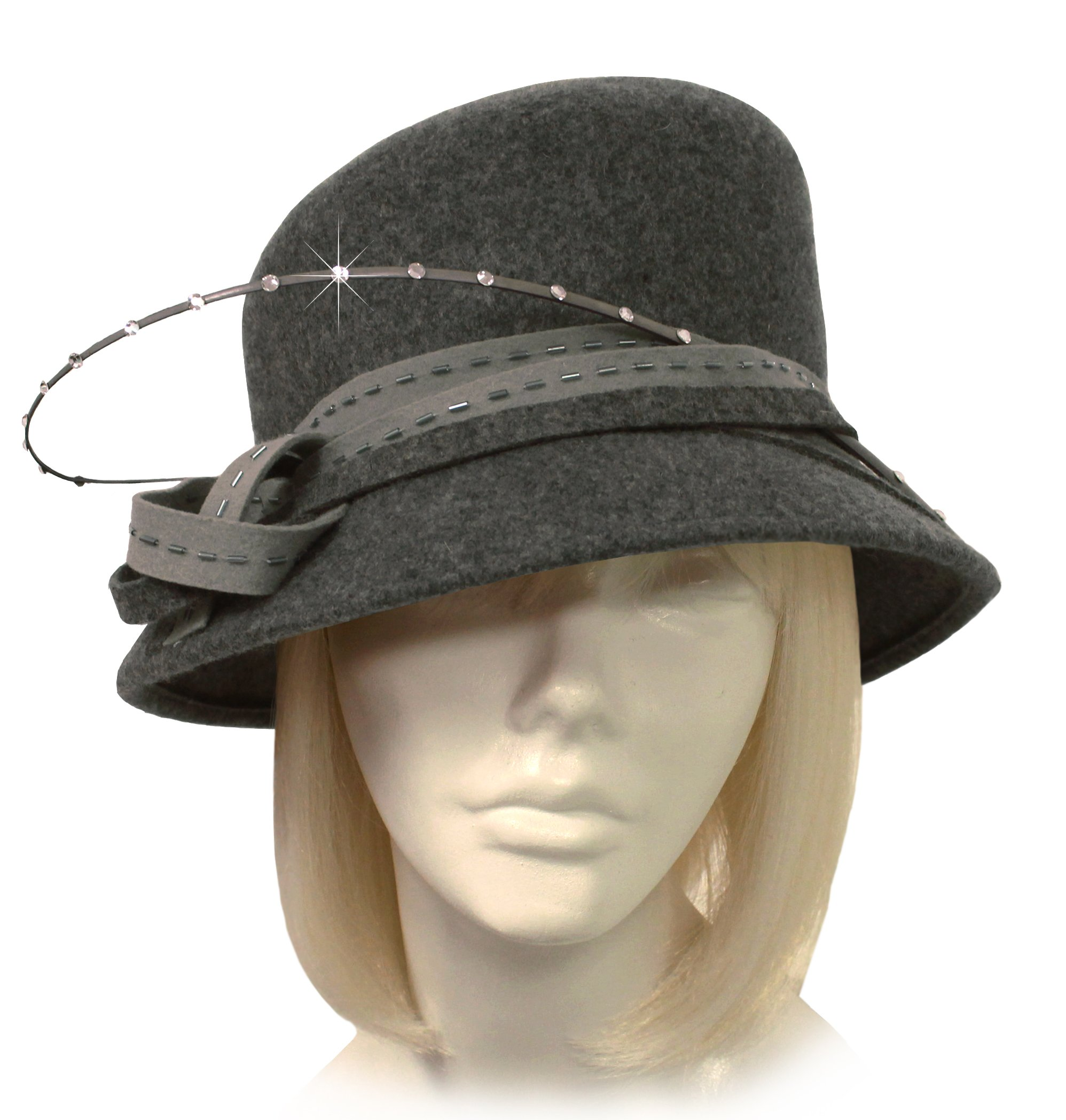 Mr. Song Millinery Cashmere Soft Felt Bucket Style Hat With Rhinestone Accents - 47700RS - CLEARANCE