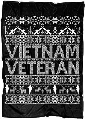 """COLUSTORE Vietnam Veteran Soft Fleece Throw Blanket, Gift for Veteran Fleece Luxury Blanket (Medium Fleece Blanket (60""""x50"""") - Black)"""